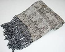 Kuldip Unisex Reversible/Double Sided Jamawar Pashmina Shawl Wrap with Sparkly Glitter Thread. 5305 Champagne
