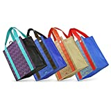 Aztec - Graphic Print Grommet Reinforced Reusable Grocery Tote Bags - Set of 4