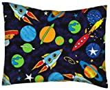 SheetWorld Crib / Toddler Percale Baby Pillow Case - Space - Made In USA