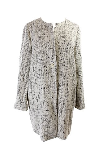 Eileen Fisher Ecru Textured Single-Button Tweed Coat M