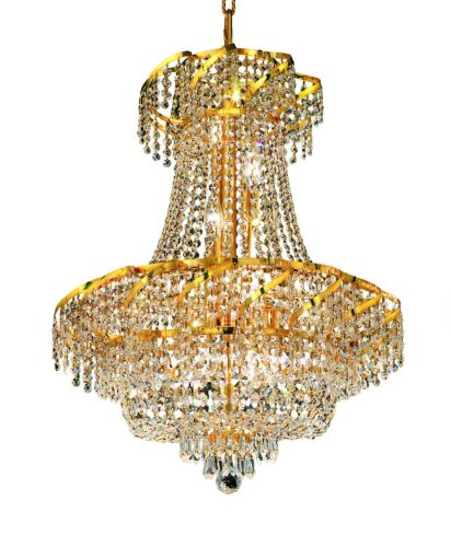 Elegant Lighting Eca2D22G/Rc Belenus 26-Inch High 11-Light Chandelier, Gold Finish With Crystal (Clear) Royal Cut Rc Crystal front-682316