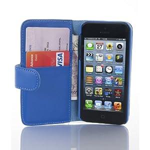 JAMMYLIZARD | Housse en Cuir Wallet Flip Case pour iPhone 5 5S, protège écran inclus (BLEU)