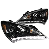 Jet Black For Hyundai Genesis 2Dr Coupe SMD LED DRL Projector Headlights Pair (Color: Jet Black Housing Clear Lens)