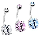 Belly Ring Big Cubic Zirconia Belly Button Ring 14G with 1 Belly Retainer