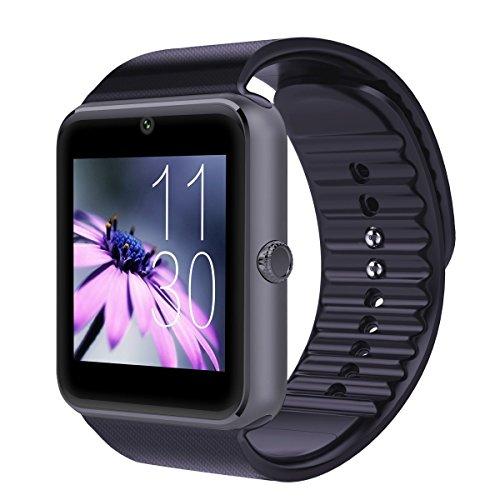 Panaho 日本語対応 スマートウォッチ欧米人気品  SIMフリー iPhone Androidスマートフォン対応 腕時計 Smart Watch 着信お知らせ/置き忘れ防止/歩数計/ストップウォッチ/高度計/ (ブラック)
