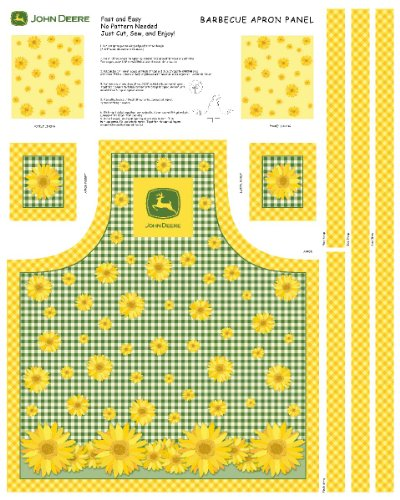 John Deere Sunflowers Butcher Block Apron Panel Fabric Kit, Yellow (Butcher Block Pattern compare prices)
