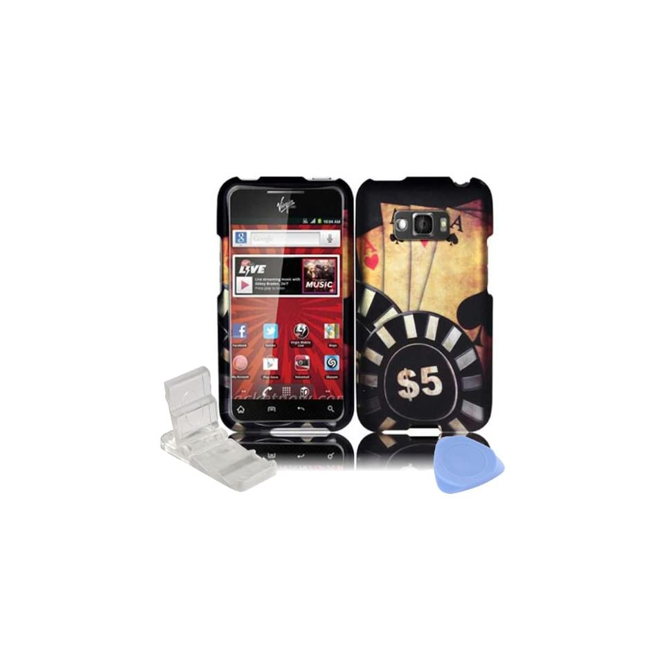 Black Red Ace Poker with Black & White Cheaps Gamble Design Rubberized Snap on Hard Plastic Cover Faceplate Case for LG Optimus Elite LS696 + Screen Protector Film + Mini Adjustable Phone Stand Cell Phones & Accessories