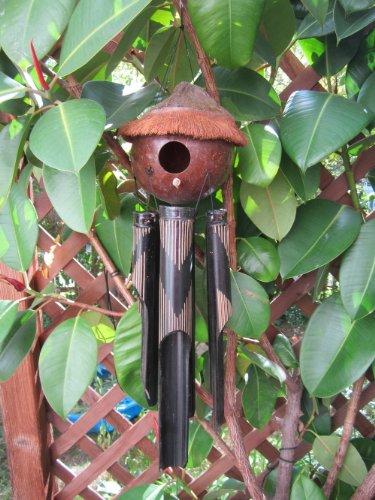 100cm Windchime Bamboo Wind Chime Wooden Wood Coconut Garden Bird House 4 W12