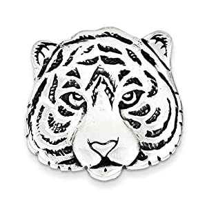 Sterling Silver Antiqued Tiger Face Pin