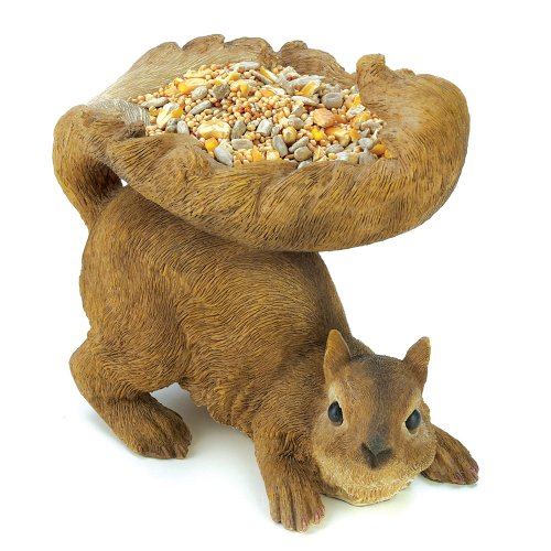 Gifts & Decor Woodland Brown Squirrel Outdoor Birdfeeder