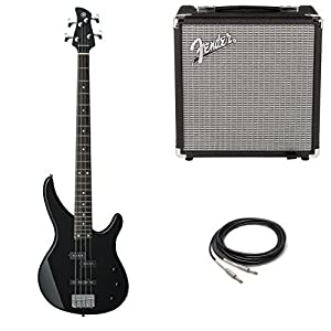 Yamaha TRBX174 BL 4-String Electric Bass Guitar with Fender Amp and Cable