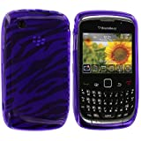 Purple Zebra TPU Rubber Skin Case Cover for Blackberry Curve 8520 8530 3G 9300 9330