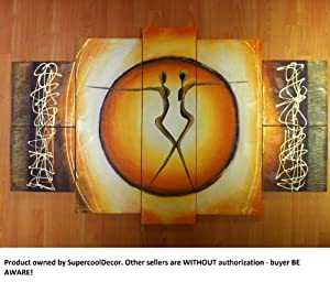 Love, Together - Modern Oil Painting on Canvas Stretched-Framed With Wood Frame - Return shipping covered for continental US regions