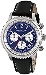 Stuhrling Original Men's 669.02 Monaco Quartz Date Blue Dial Black Genuine Leather Strap Chronograph Watch