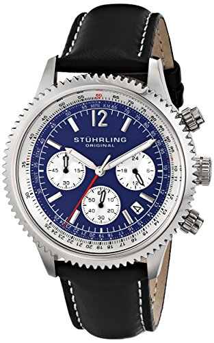 Stuhrling Original Men's 669.02 Monaco Quartz Date Blue Dial Black Genuine Leather Strap Chronograph Watch