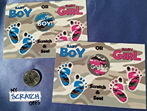 Gender Reveal Military Camo Camoflague Sex Scratch Off Postcards & Envelopes Qty 25 (Blue~ Boy)