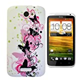 For HTC ONE X PLUS Art Pink Black Floral Butterfly Soft Silicone Rubber Gel Phone Case Cover by eFEEL