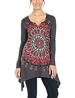 Desigual Carmen - T-shirt - Imprimé - Col rond - Manches longues - Femme