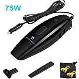 [Upgraded Version] Vacuum for Car 12 Volt 75 W Foseal™ Auto Potable Car Vacuum Cleaner Mini Dust Buster Hand Vac Black with 14.8 FT (4.5M) Power Cord - Include Brush Mouth