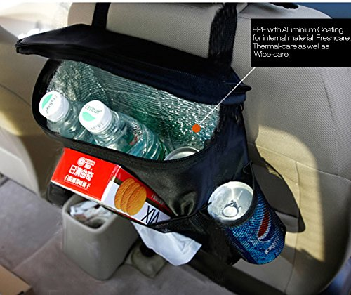 Deler Insulated Auto Car Seat Back Organizer Bottle Drinks Holder