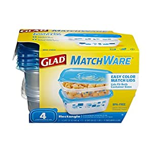 Glad MatchWare Food Storage Containers Blue Rectangle Variety Pack, 4 Count (Pack of 4)