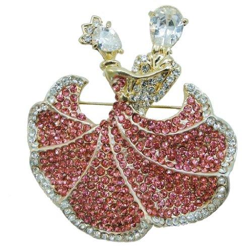 Ever Faith Ballroom Dance Couple Lover Brooch Pin Pink Swarovski Crystal