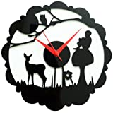 Panache Jungle Aluminium Wall Clock (Black/White)