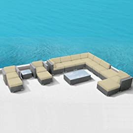 Luxxella Patio Bella 15pcs Outdoor Furniture All Weather Wicker Couch Sofa Set