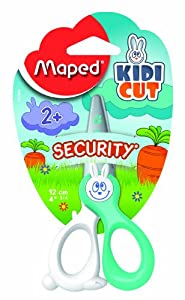 Maped Kidikut Safety Scissors, Fiberglass Blades, 4 3/4 Inches, Assorted Colors (037800)
