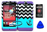 Hybrid Cover Case for Motorola Droid Razr M (Xt907, 4g Lte, Verizon) Protector Case Blue Block Chevron with Small Anchor Snap on + Purple Silicone Hybrid Cover (Screen Protector, Pry Tool & Wireless Fones' Wristband Included)