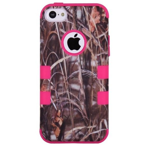 KINGCO 3in1 Straw Grass Camo Hybrid High Impact Armor Defender Case Combo for Apple iPhone 5C (Hot Pink)