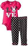 Disney Baby Girls Newborn Minnie Mouse Bodysuit and Pant Set- Love, Red, 3-6 Months