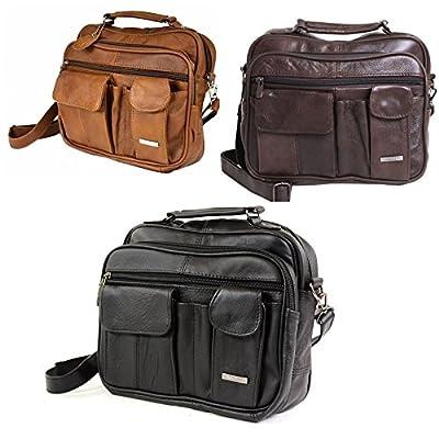 LORENZ Unisex Real Leather Travel Flight Shoulder Cross Body Organiser Handbag Bag