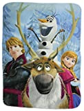 Disney Movie Frozen Fleece Throw Blanket - Out of the Cold Anna, Olfa the Snowman and Kristoff Fleece Throw Blanket 46x60