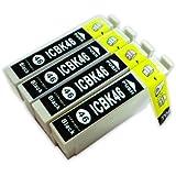EPSON エプソン ICBK46互換 インクカートリッジ 4個セット ブラック