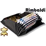 """Rimbaldi"" Profi-Kellnerbörse mit Extra-verstärktem riesigen Hartgeldfach aus naturbelassenem. robustem Büffelleder in Schwarz"