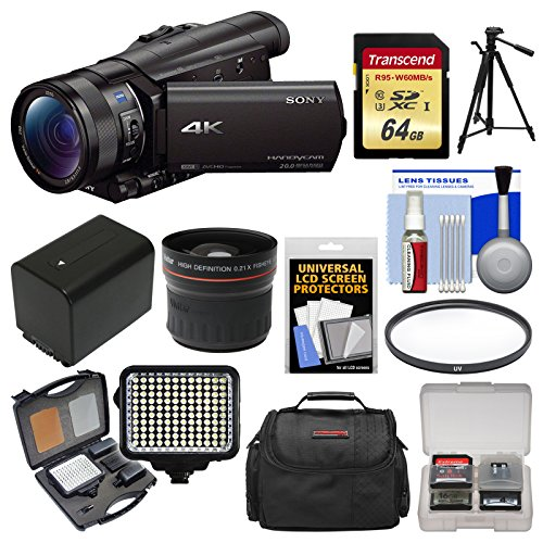 Sony Handycam FDR-AX100 Wi-Fi 4K HD Video Camera Camcorder with 64GB Card + Case + LED Light Set + Battery + Tripod + Fisheye Lens + Filter Kit