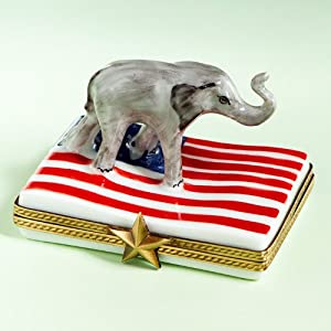 Limoges Porcelain Elephant on USA Flag Box