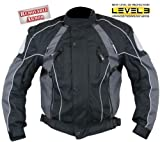 Men's Black and Grey Armored Motorcycle Tri-Tex? Fabric Jackets