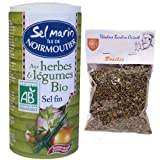 1 x french Ile de Noirmoutier sea salt with herbs and organic vegetables - Sel marin Ile de Noirmoutier aux herbes et légumes bio bio Aquasel - 250 gr + 1 bag of basil Théodore Bardin-Cuinet
