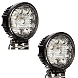 Masione 27W LED Work Flood Round Light 12V 24V Marine Boat RV Camping Security (2 Pack, 27W Round, Flood Light)