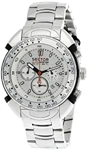 Sector Men's Watch R3273678045 In Collection Shark Master, Chrono 44mm with White Dial and Stainless Steel Bracelet