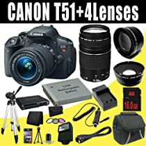 Canon EOS Rebel T5i 18 MP CMOS Digital SLR Camera w/EF-S 18-55mm f/3.5-5.6 IS STM Lens + EF 75-300mm f/4-5.6 III Telephoto Zoom Lens + LP-E8 Replacement Lithium Ion Battery + External Rapid Charger + 16GB SDHC Class 10 Memory Card + 58mm Wide Angle Lens + 58mm 2x Telephoto Lens + 58mm 3 Piece Filter Kit + Mini HDMI Cable + Carrying Case + Full Size Tripod + External Flash + SDHC Card USB Reader + Memory Card Wallet + Deluxe Starter Kit DavisMAX Bundle