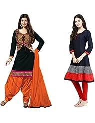Sky Global Women's Regular Wear Dress Material And Kurti (Combo Pack Of 2)(SKY_DK_9038)(SKY_547_Black)(SKY_7026...