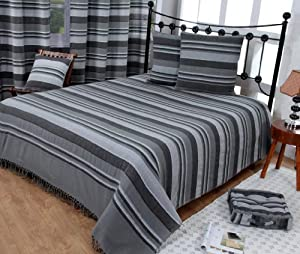 homescapes jet de lit jet de canap gris rayures de. Black Bedroom Furniture Sets. Home Design Ideas