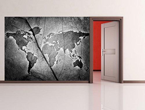 bilderdepot24-fotomurale-autoadesivo-foglio-di-mappa-del-mondo-bianco-e-nero-200x150-cm-prodotto-in-