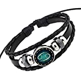 Rosemes Retro 12 Constellation Beaded Hand Woven Leather Bracelet PUNK Chain Cuff Cancer