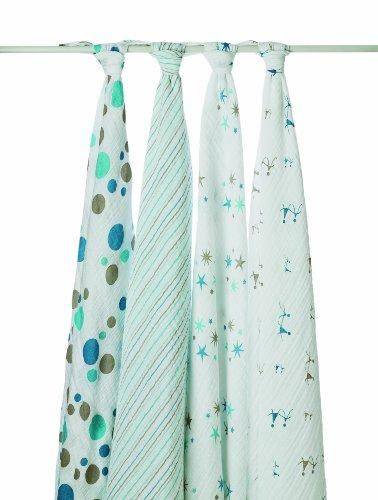 Imagen de Aden Anais y Bebé Pañales Mantas / Plazas muselina 4 Pack - Bright Star
