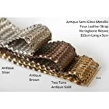 Neotrims Fake Faux Leather PU Woven Herringbone Weave 5cm Wide Trimming Strap for Coach Pram Accessories, Fastening, Belt Making, Tie Backs, Bag Handles. Beautiful Metallic Semi-Gloss Handcrafted Criss Cross Pattern. Antique Brown, Vintage Silver & Two T