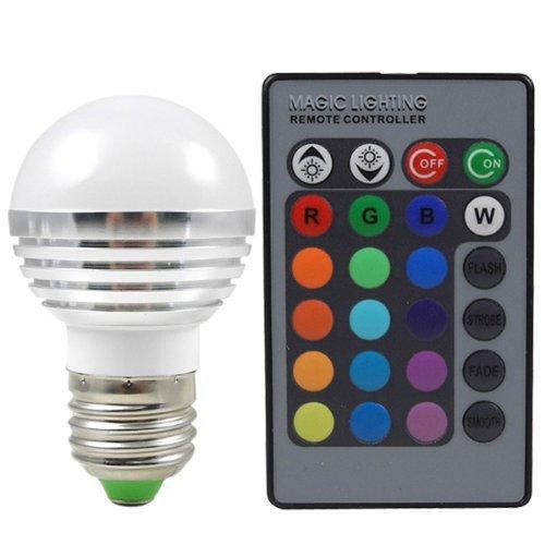 CHINS® E27 3W LED RGB Licht Birne SMD LEDs LED farbwechsel Lampe Leuchtmittel mit IR-Fernbedienung (220lm, AC 85 - 265V, 50 X 81mm) - 16 multicolor inklusive - Fernbedienung Licht